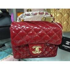 Стильная сумочка Chanel mini натуральный лак цвет спелая вишня 80R